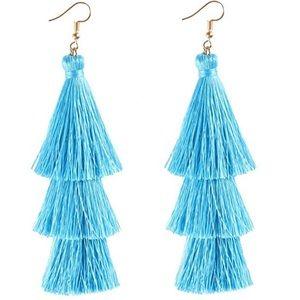 Light Blue Tassel Earrings